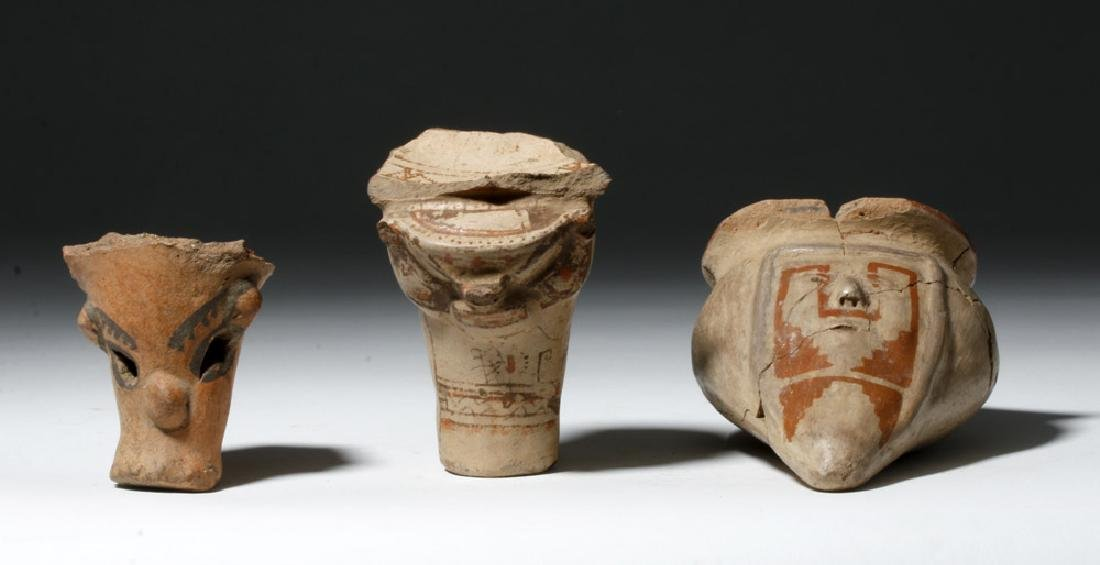 Trio of Nicoya Pottery Pieces - 2 Legs and a Vessel