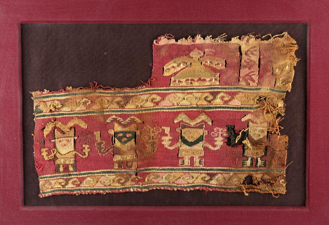 Framed Chimu Textile Fragment, Anthropomorphic Figures