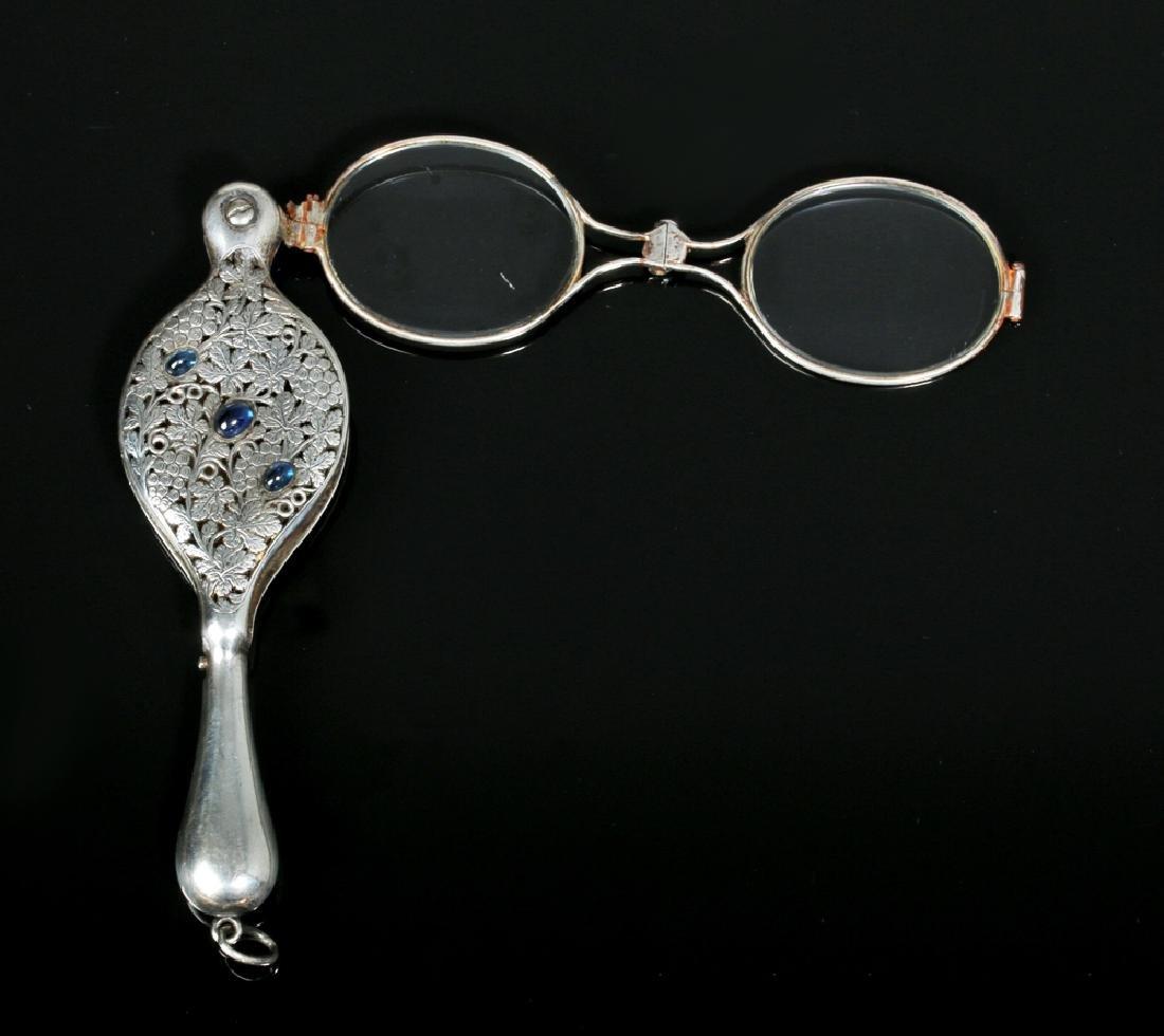 19th C. Silver Lorgnette Eyeglasses w/ Sapphires