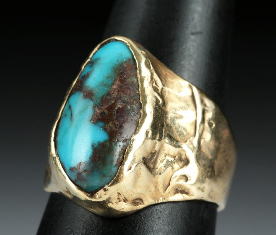 20th C. Native American 12K Gold Ring w/ Turquoise
