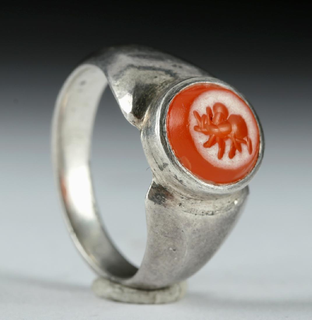 Roman Carnelian Intaglio / Silver Ring