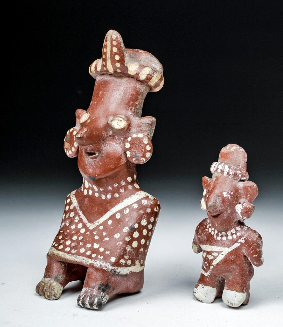 Lot of 2 Fine Jalisco Sheepface Pottery Figures