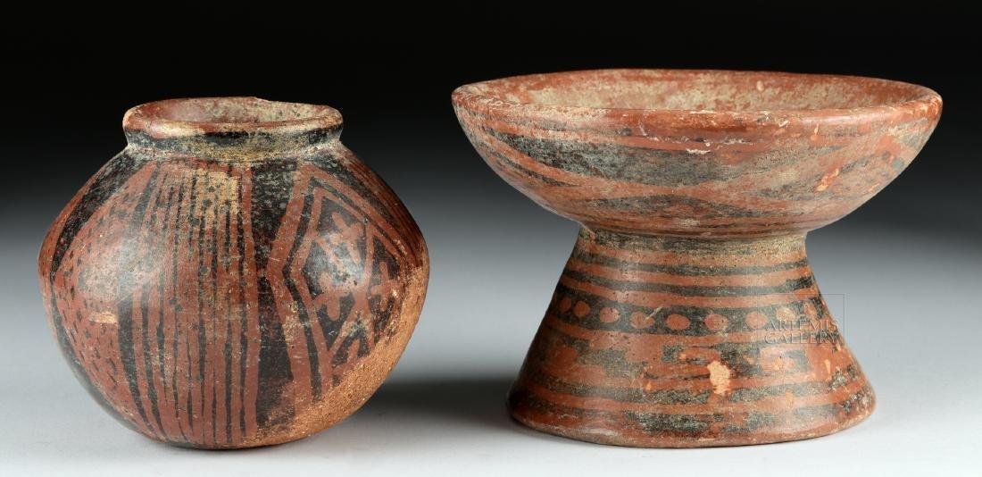 Lot of 2 Carchi-Narino Pottery Negative-Resist Vessels