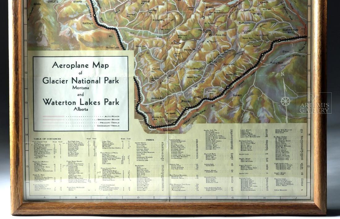 Framed Railway Map of Glacier National Park - 1936