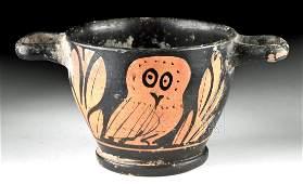 Greek Apulian Red Figure Skyphos w Owls