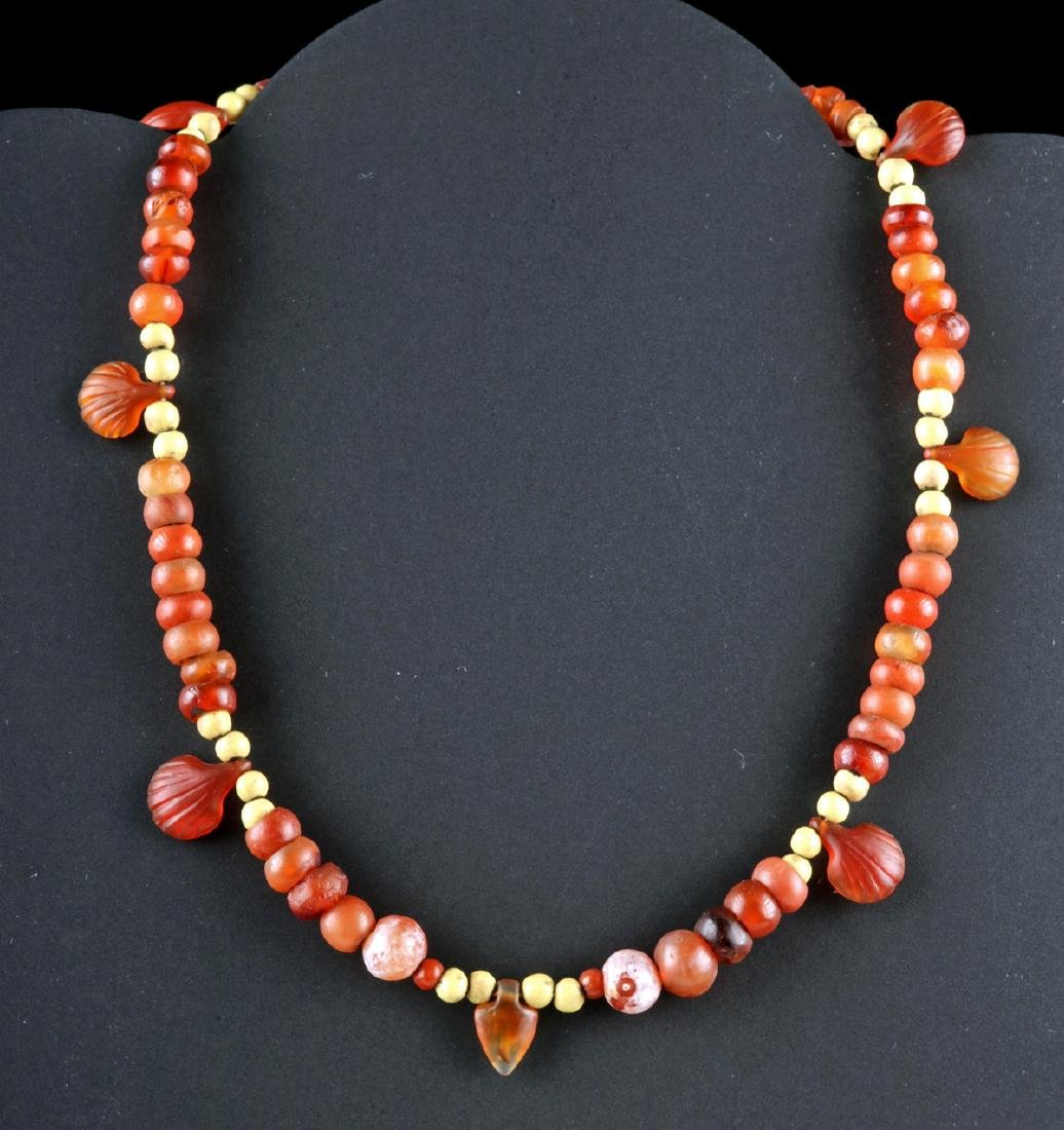 Egyptian Jasper and Carnelian Necklace - Shell Amulets