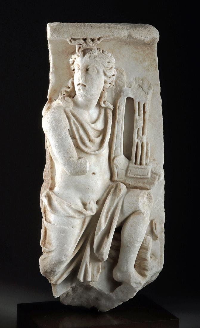 Roman Marble Sarcophagus Section, Apollo, ex Christie's