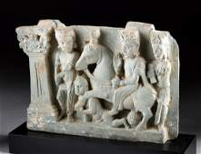 Gandharan Stone Relief Panel  Siddhartha Leaves Home