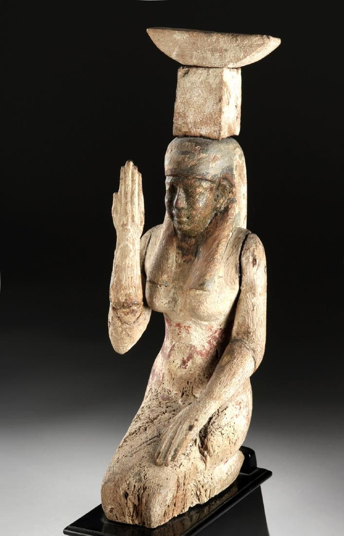 Egyptian Gilded Polychrome Statue - Mourning Nephthys