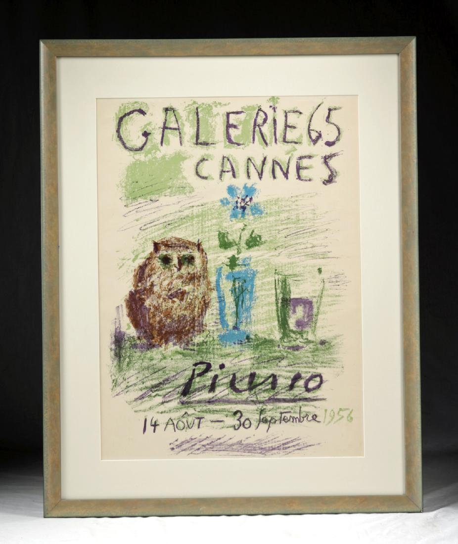 """Framed Picasso """"Gallerie 65 Cannes"""" Lithograph - 1956"""