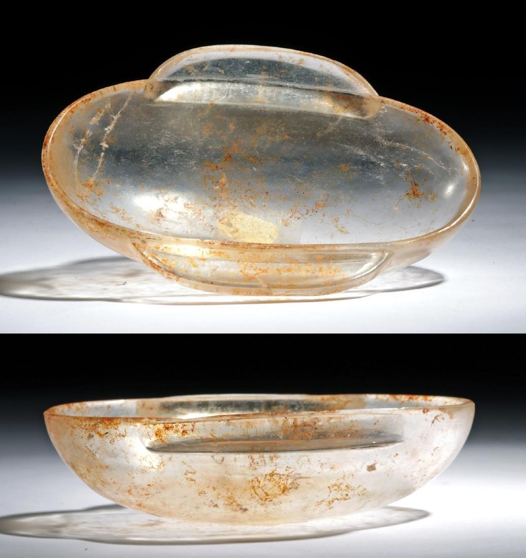 Chinese Han Dynasty Rock Crystal Ear Cup (Erbei) Dish