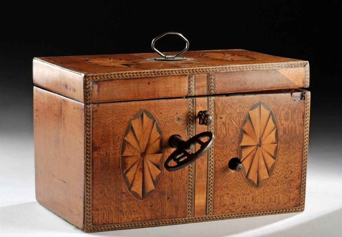 18th C. English Wooden Tea Caddy - Working Music Box