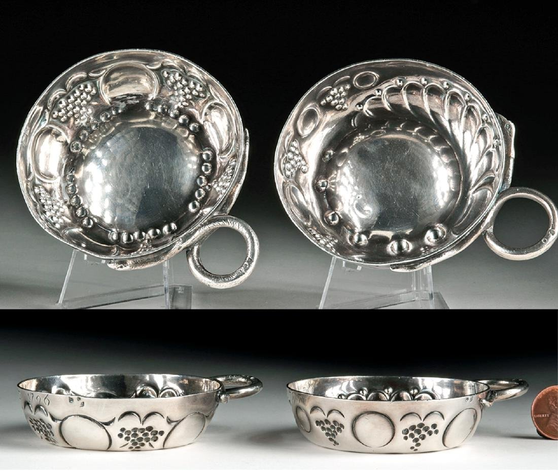 Lot of 2 French 18th C. Silver Wine Tasters - 121.6 g