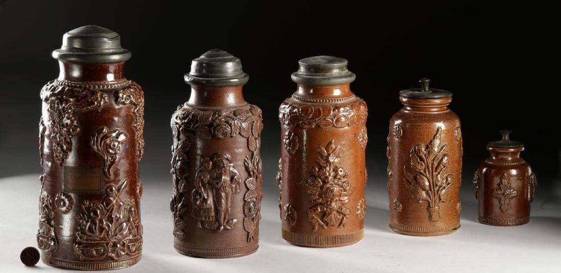 17th C. German Salt Glazed Stoneware Jars w/ Lids (5)