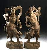 Lot of 2 Tall 19th C Japanese Wood Nio Guardians