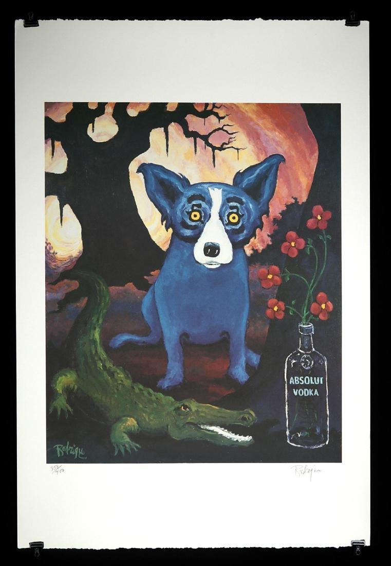 Signed Rodrigue Blue Dog Absolut Louisiana - 1991