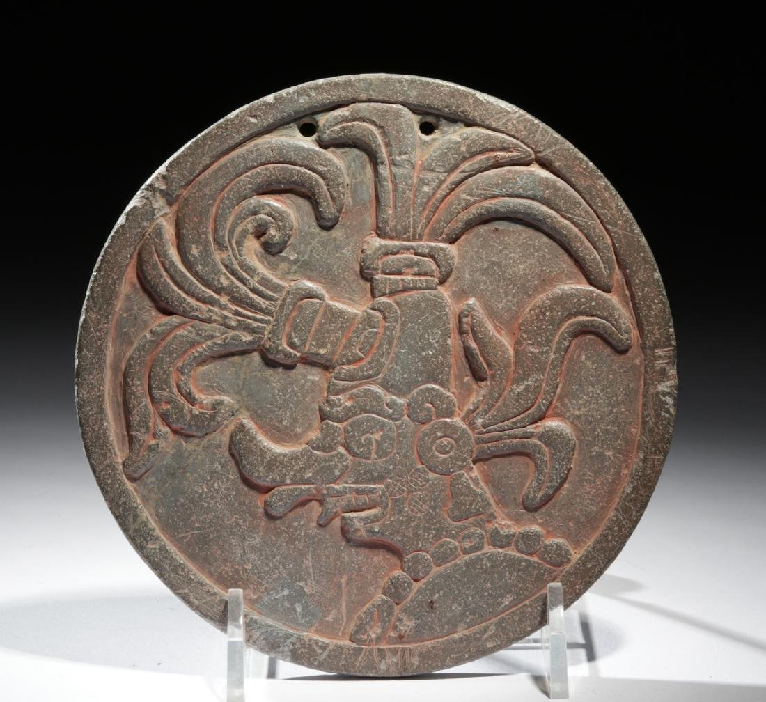 Maya Stone Mirror with Image of a Deity