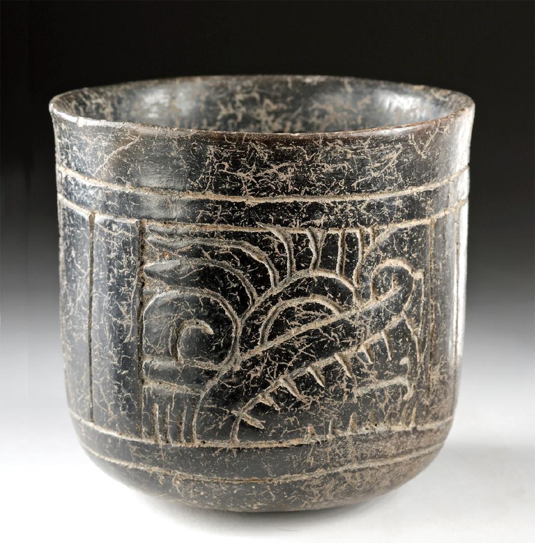 Maya Incised Brownware Cylinder Vessel