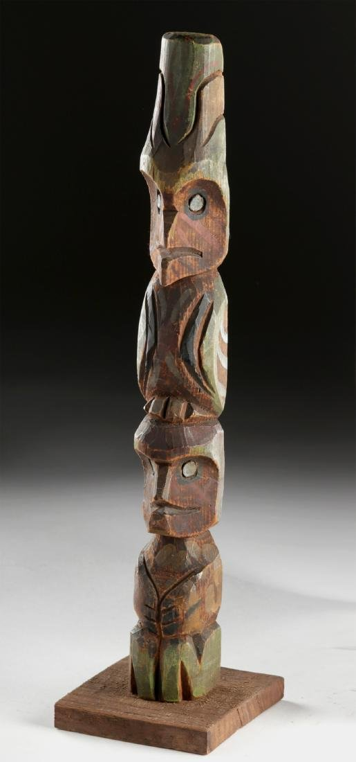 Early 20th C. Pacific Northwest Coast Wooden Totem Pole