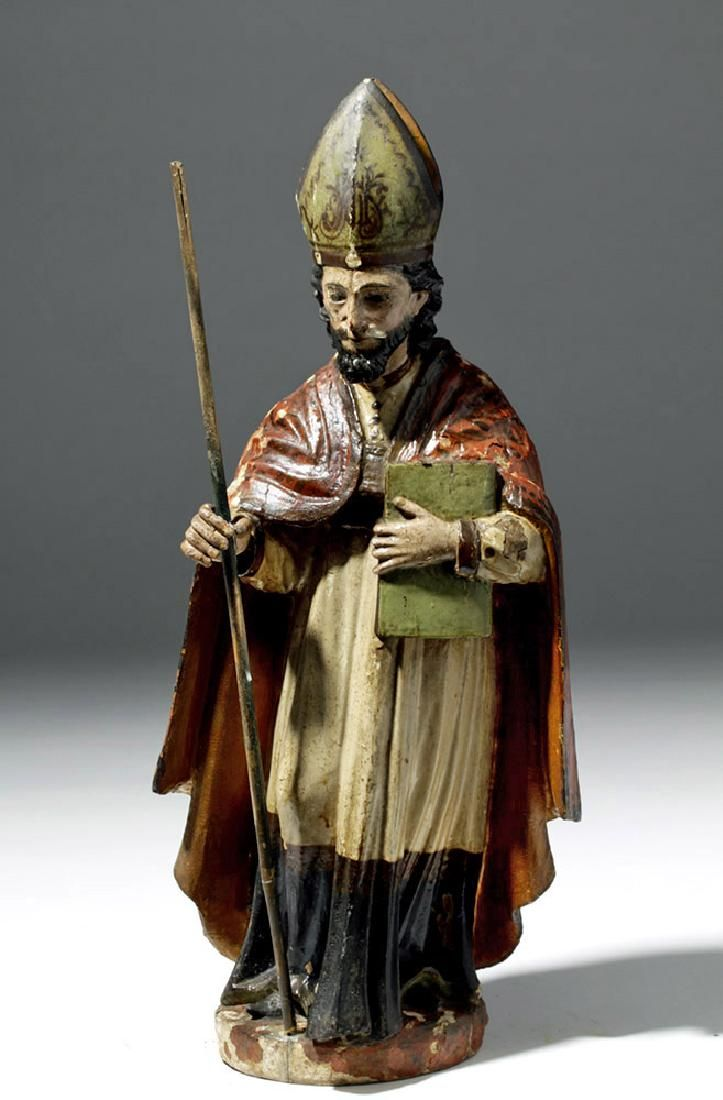 19th C. Mexican Wood Santo - St. Ambrose