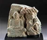 Gandharan Stone Relief Panel  Seated Buddha