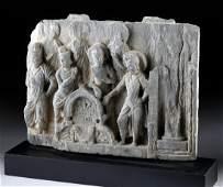 Gandharan Schist Relief of Standing Bodhisattvas