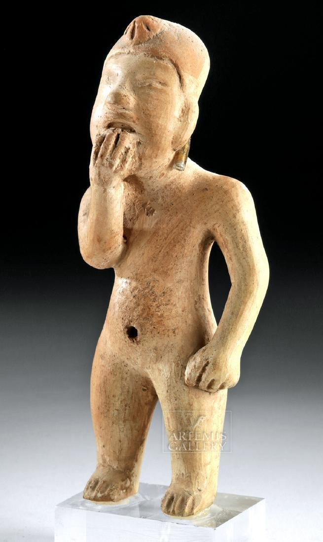 Olmec Pottery Standing Figure w/ Hand to Mouth Gesture