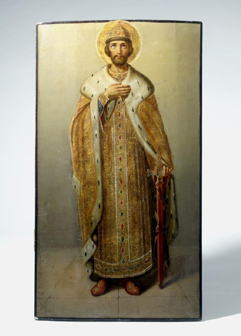 Masterful 18th C. Russian Icon of St. Alexander Nevsky
