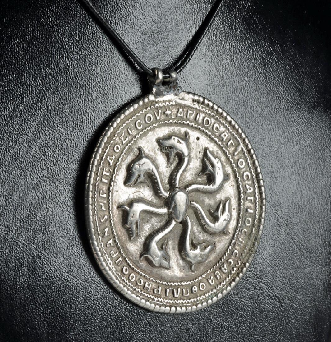 Translated Byzantine Silver Hydra Amulet - 36.9 g