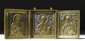 19th C Russian Brass Triptych  Traveling Icon