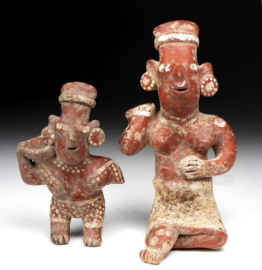 Pair of Jalisco Pottery Sheepface Female Figures