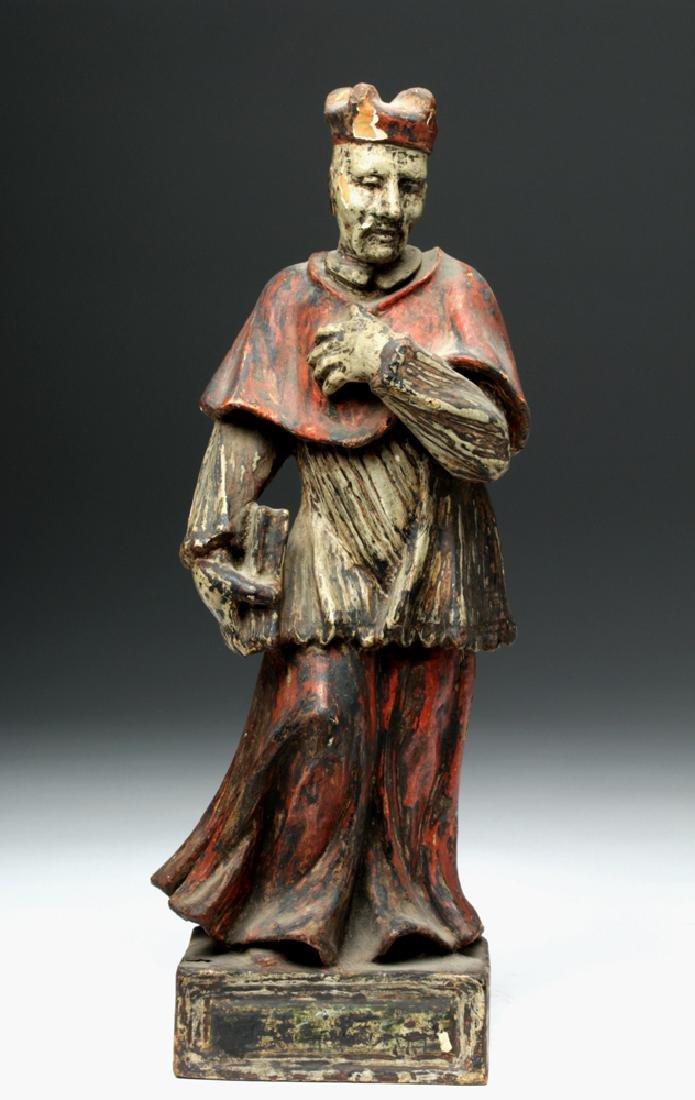 19th C. Italian Wood Carving of a Catholic Cardinal