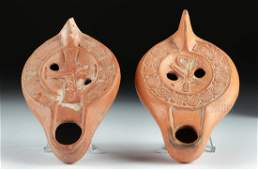 Lot of 2 Roman Redware Oil Lamps - Christian Motifs