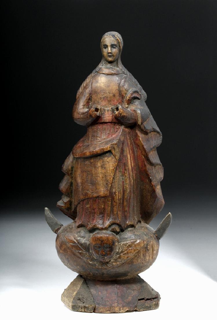19th C. Mexican Carved Wood Santo - La Inmaculada