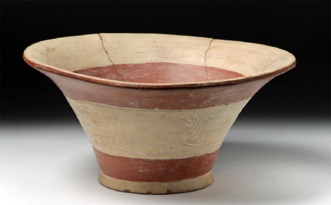 Rare Moche Pottery Bichrome Florero - Impressed Designs