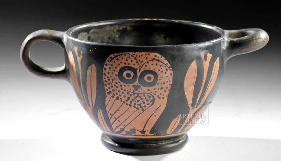 Rare Greek Attic Red Figure Glaux Skyphos w/ Owl