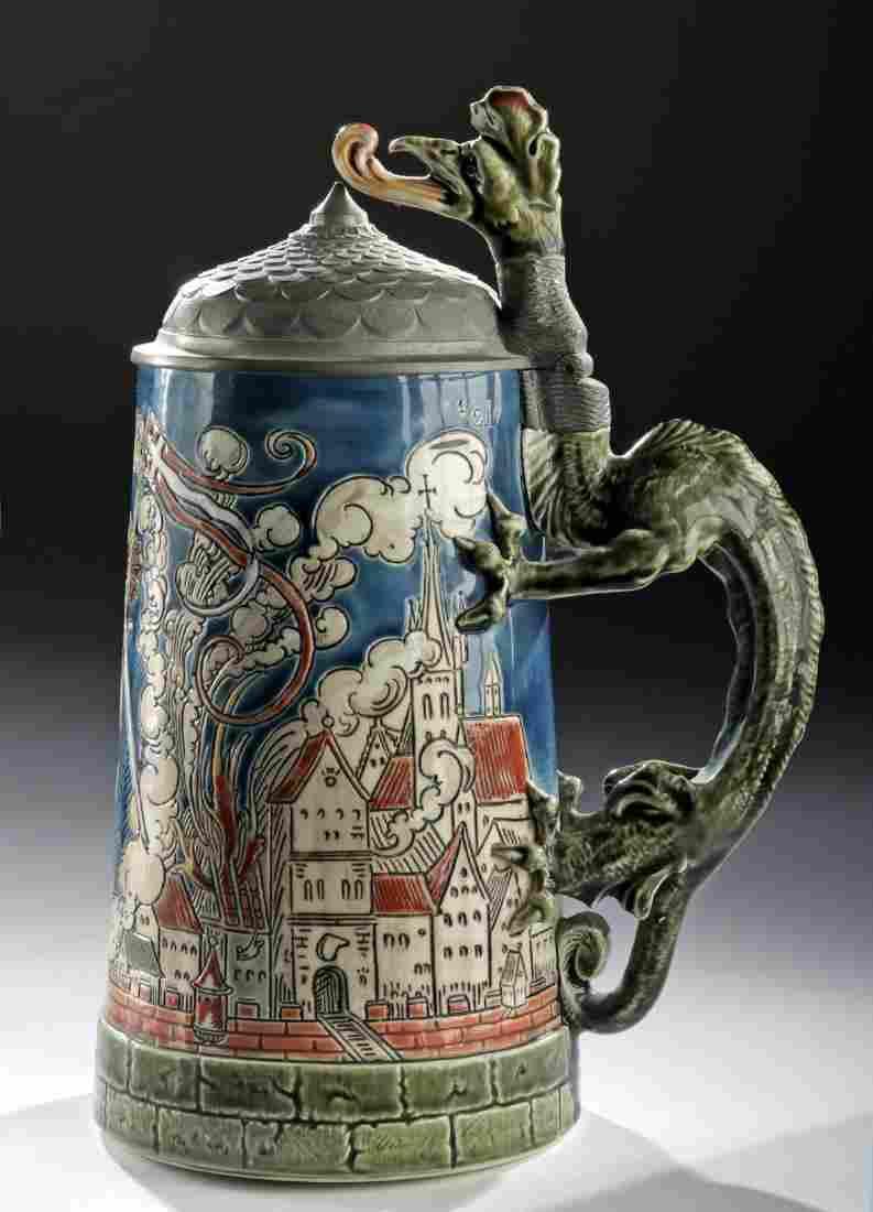 """19th C Mettlach Stoneware & Pewter Stein, """"St. Florian"""""""