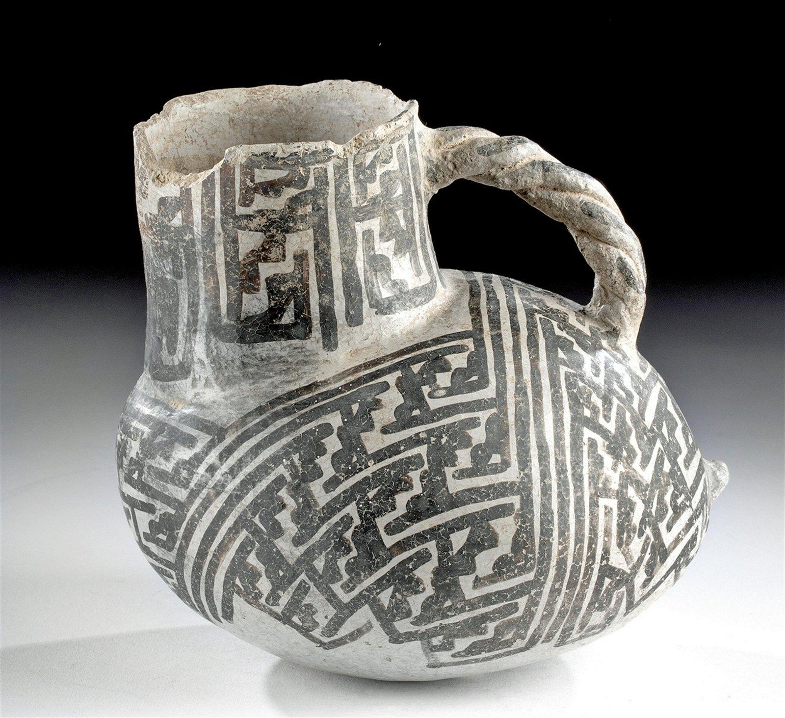 Anasazi Black on White Pottery Pitcher