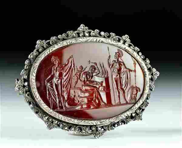 Neoclassical Agate Intaglio w/ Silver & Diamonds Brooch