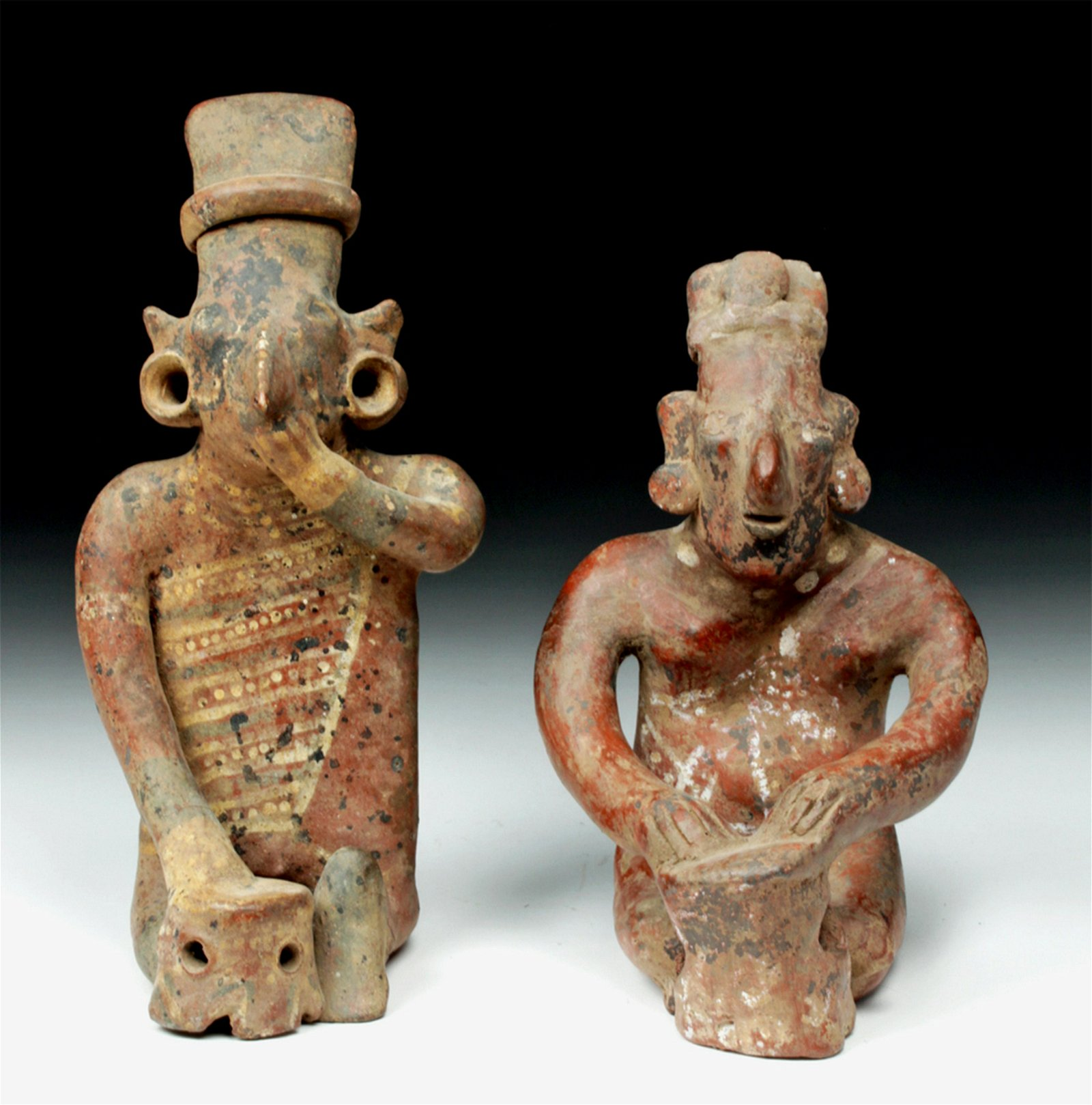 Pair of Large Jalisco Sheepface Pottery Drummers