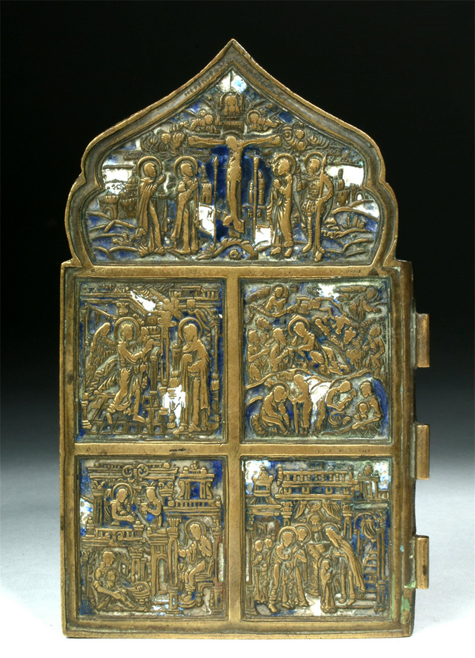 19th C. Russian Brass & Enamel Icon - Life of Christ