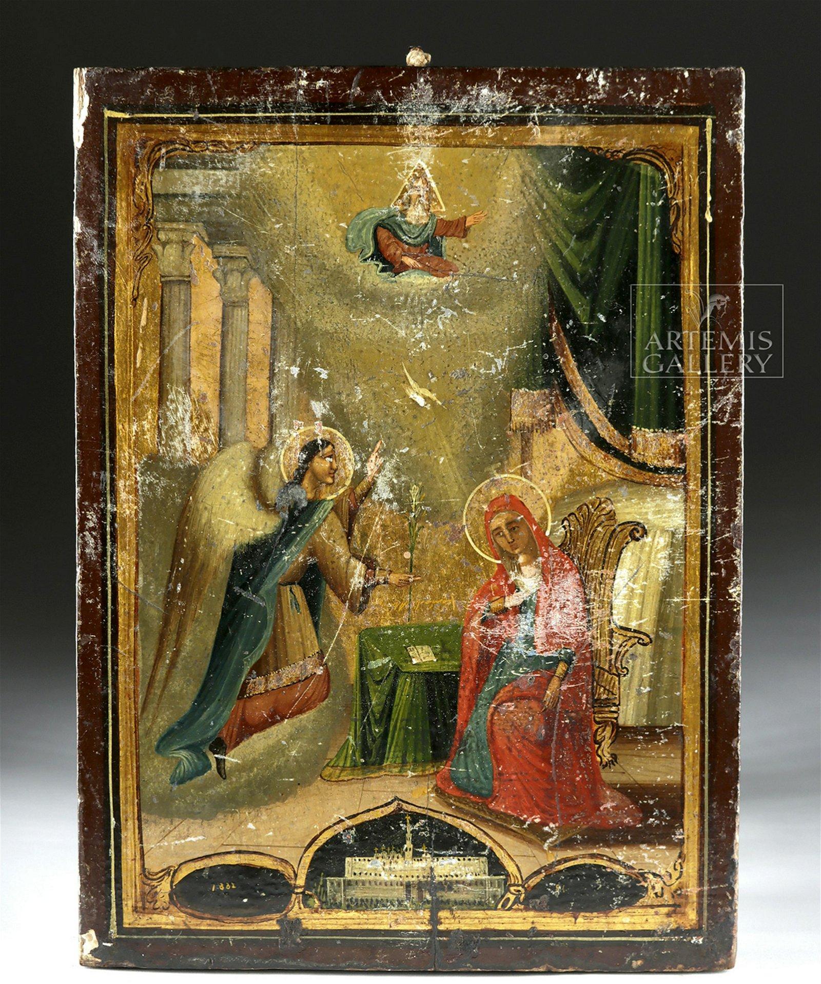19th C. Russian Icon - Annunciation