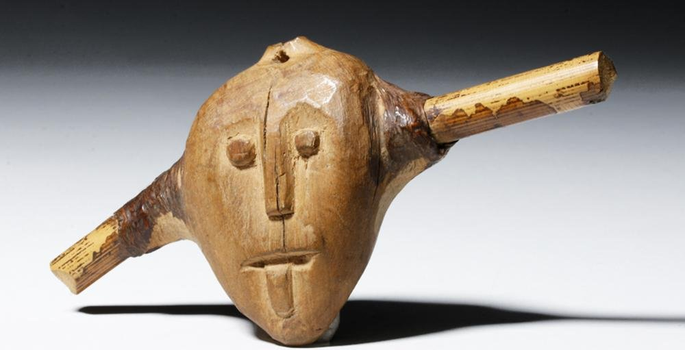 Early Chinese Wood Janus-headed Spirit Carving