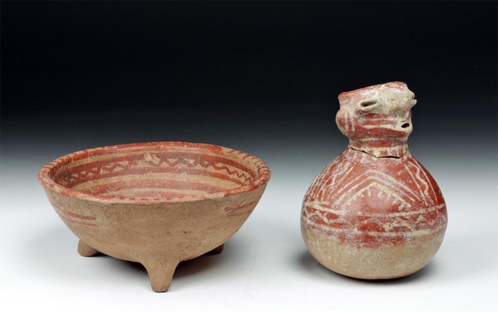 Pair of Nayarit Pottery Items - Bowl and Figural Jar