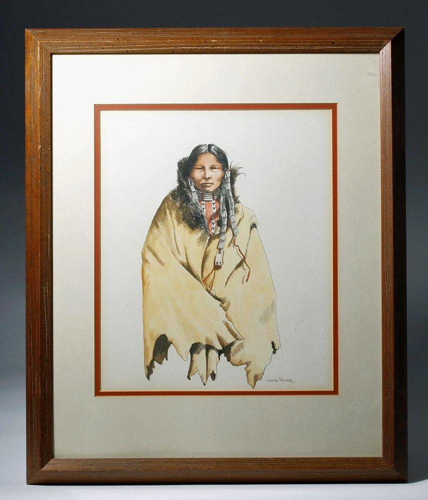Signed J. Nickol Watercolor/Ink - Wife of Sioux Chief