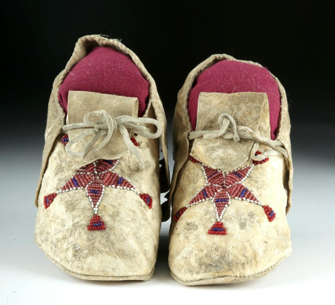 20th C. Plains Indian Beaded Hide Child Moccasins (pr)