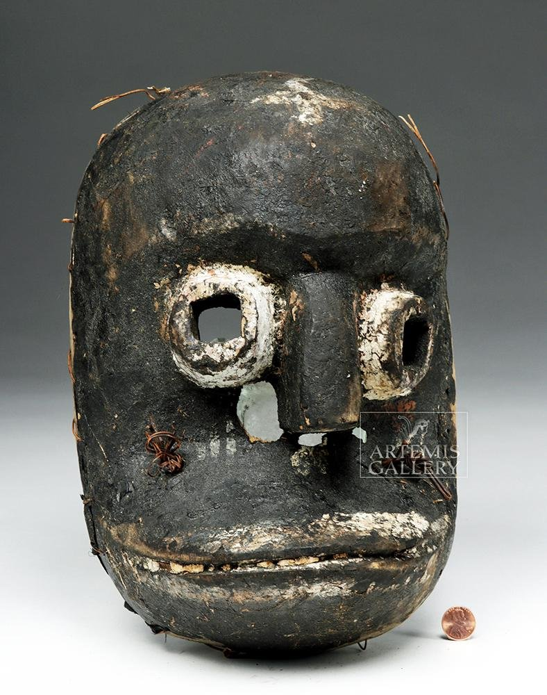 20th C. African Ibibio Wood Idiok Mask - Frightening!