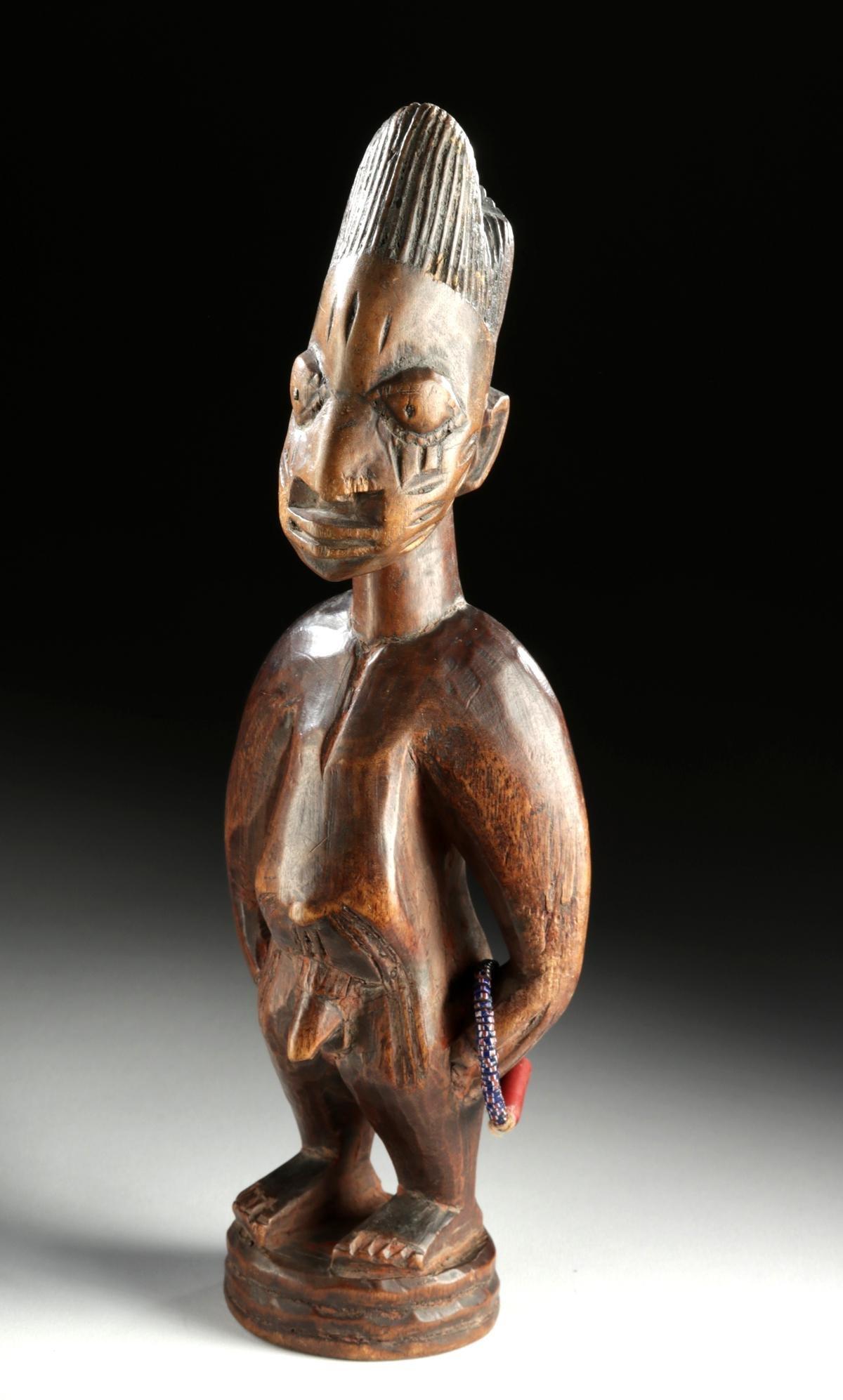 Fine / Early 20th C. African Ibeji Wood Male Twin