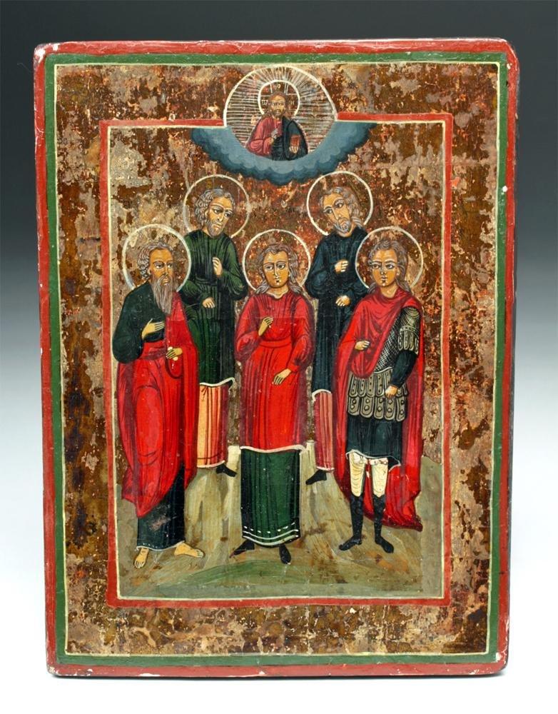 18th C. Russian Icon - Five Patronal Saints