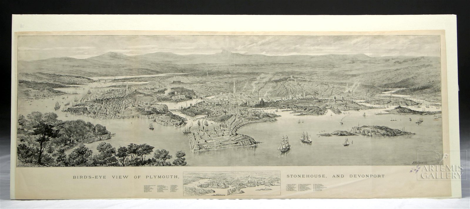 H.W. Brewer Bird's Eye View of Plymouth - 1890s